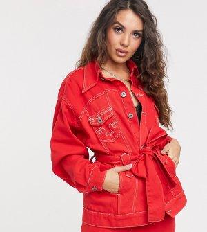 Джинсовая куртка в стиле вестерн с поясом из комплекта -Красный Liquor N Poker