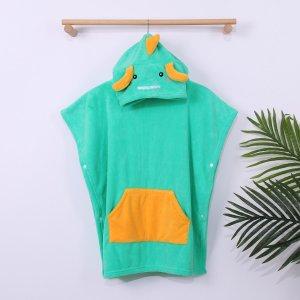 Детский банный халат в мультипликационной форме SHEIN. Цвет: зелёный