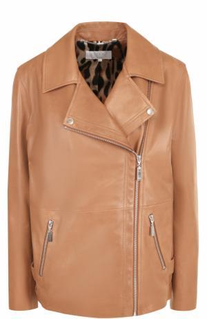 Кожаная куртка прямого кроя с косой молнией Escada Sport. Цвет: светло-коричневый