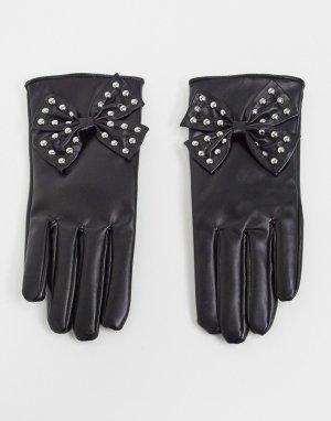 Перчатки из черной искусственной кожи с бантами заклепками London-Черный My Accessories