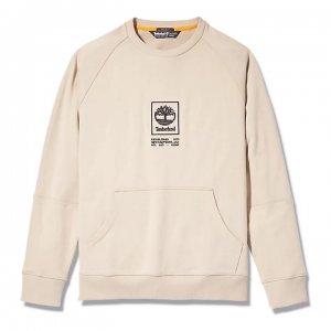 Толстовки YC Heavy Weight Stack Logo Crew Neck Sweatshirt (Regular) Timberland. Цвет: бежевый
