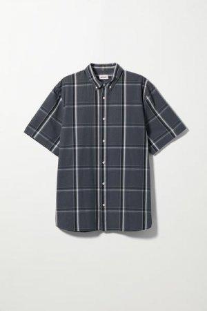 Рубашка Dameer в клетку с короткими рукавами Weekday. Цвет: разноцветный, синий
