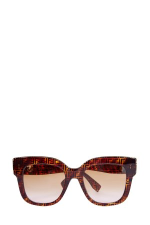 Очки Havana в квадратной оправе из легкого черепахового ацетата FENDI (sunglasses). Цвет: коричневый