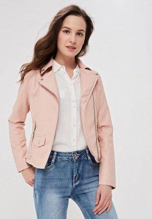 Куртка кожаная Adrixx. Цвет: розовый