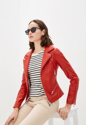 Куртка кожаная Arma. Цвет: красный