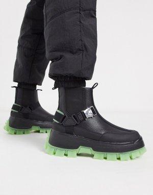 Черные ботинки челси на массивной рифленой подошве -Черный ASOS DESIGN