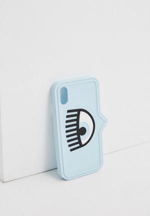 Чехол для iPhone Chiara Ferragni Collection Х/XS. Цвет: голубой