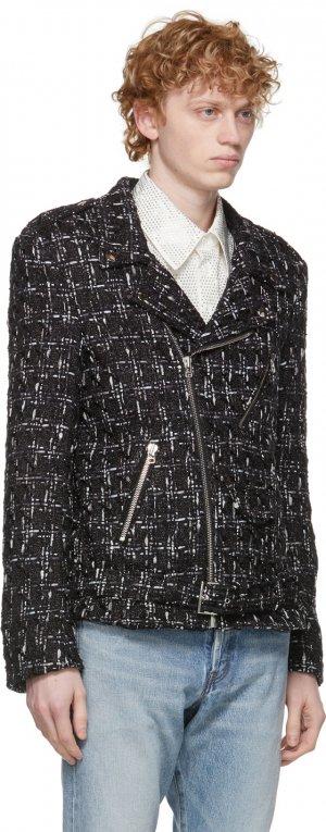SSENSE Exclusive Black Perfecto Tweed Jacket Faith Connexion. Цвет: 001 black