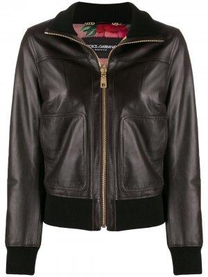 Куртка-бомбер на молнии Dolce & Gabbana. Цвет: коричневый