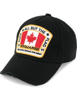 Бейсбольная кепка с заплаткой канадским флагом Dsquared2. Цвет: черный