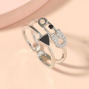Открытое кольцо со стразами SHEIN. Цвет: серебряные