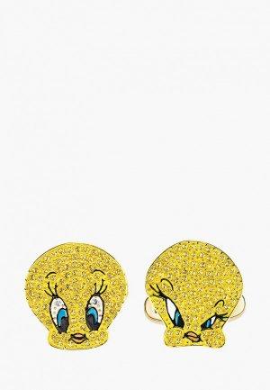Запонки Swarovski® Looney Tunes. Цвет: желтый
