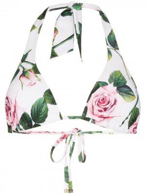 Лиф бикини с цветочным принтом Dolce & Gabbana. Цвет: зеленый