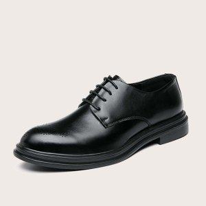 Броги на шнурках SHEIN. Цвет: чёрный