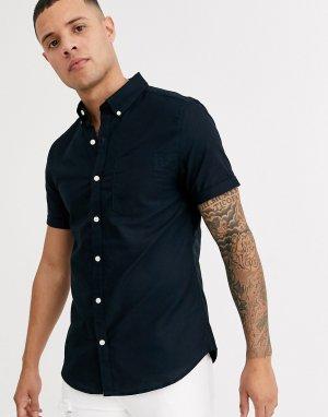 Темно-синяя оксфордская рубашка с короткими рукавами -Темно-синий New Look