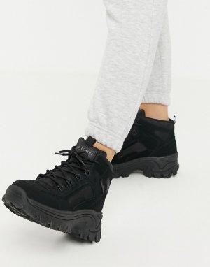 Черные походные ботинки на плоской подошве Street Blox-Черный Skechers