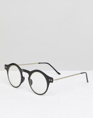 Круглые очки в черной оправе с прозрачными стеклами Nexus Spitfire. Цвет: черный