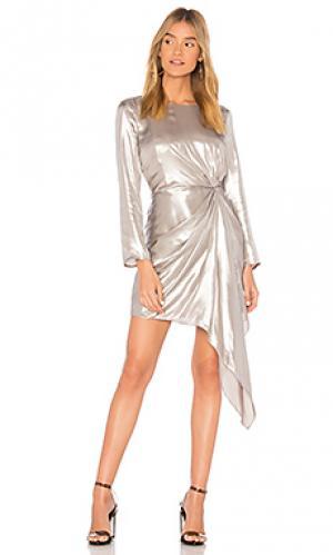Мини платье shimmer Bardot. Цвет: металлический серебряный