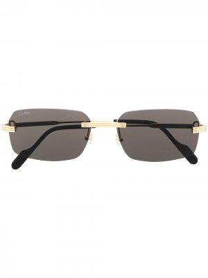 Солнцезащитные очки в квадратной оправе Cartier Eyewear. Цвет: золотистый