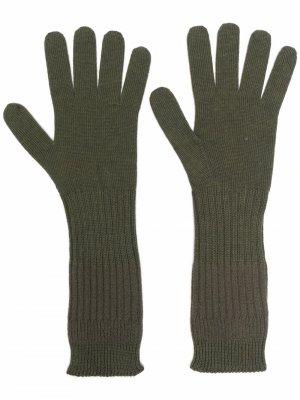 Шерстяные перчатки в рубчик Jil Sander. Цвет: зеленый