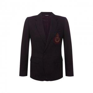 Пиджак из шерсти и шелка Dolce & Gabbana. Цвет: бордовый