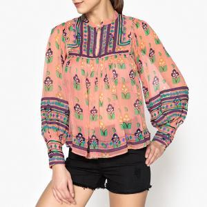 Топ-блузка из вуали с принтом MIA BLOUSE ANTIK BATIK. Цвет: розовый