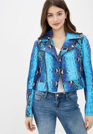 Куртка кожаная Guess Jeans. Цвет: голубой