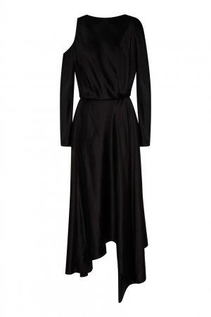 Платье из вискозы с разрезом Chapurin. Цвет: черный