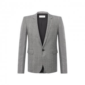 Шерстяной пиджак Saint Laurent. Цвет: серый
