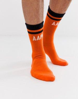 Оранжевые носки в рубчик с логотипом AAPE By A Bathing Ape. Цвет: оранжевый