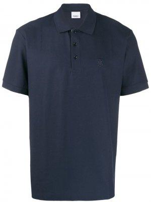 Рубашка-поло с монограммой Burberry. Цвет: синий