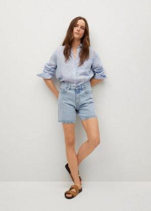 Джинсовые шорты straight - Zaida Mango. Цвет: выбеленный синий