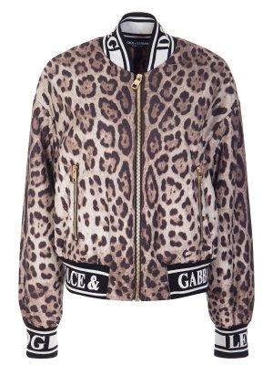 Куртка-бомбер принт леопард DOLCE & GABBANA