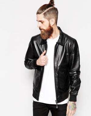 Кожаная куртка Schott. Цвет: черный