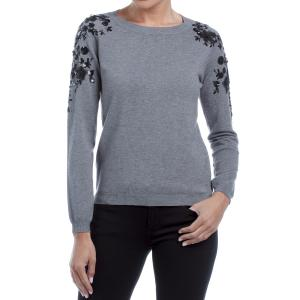 Пуловер с круглым вырезом, блестками на плечах, завязки сзади FREEMAN T. PORTER. Цвет: серый