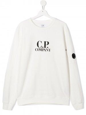 Толстовка с логотипом C.P. Company Kids. Цвет: белый