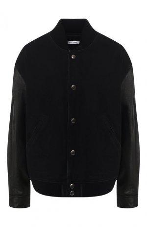 Джинсовая куртка с кожаными рукавами Givenchy. Цвет: черный