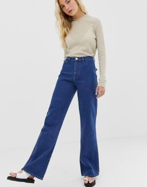 Расклешенные джинсы с карманами в стиле вестерн -Синий ASOS DESIGN