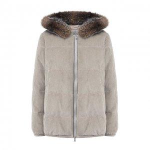 Вельветовая куртка с меховой отделкой капюшона Brunello Cucinelli. Цвет: серый