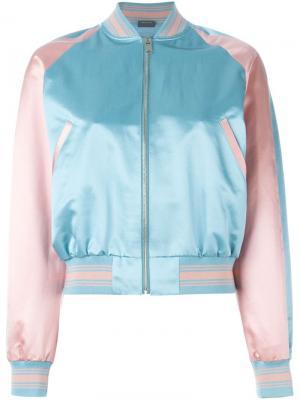 Куртка-бомбер с вышивкой Alexander McQueen. Цвет: синий