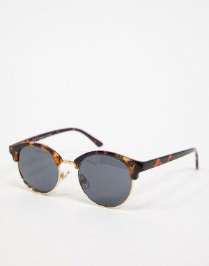 Круглые солнцезащитные очки в черепаховой оправе -Коричневый цвет Topman