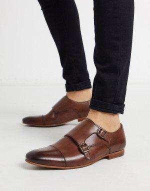 Светло-коричневые кожаные монки Walk London-Коричневый LONDON