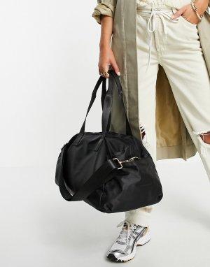 Черная спортивная сумка из переработанного полиэстера -Черный цвет ASOS DESIGN