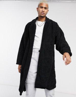 Черное плюшевое oversized-пальто -Черный ASOS DESIGN