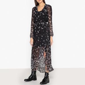 Платье длинное с цветочным рисунком IKKS. Цвет: рисунок черный