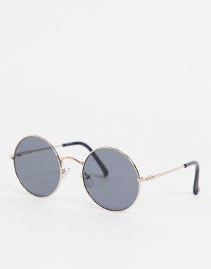 Круглые солнцезащитные очки с золотистой оправой и затемненными линзами -Золотистый ASOS DESIGN