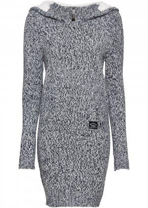Вязаное платье-анорак bonprix. Цвет: синий