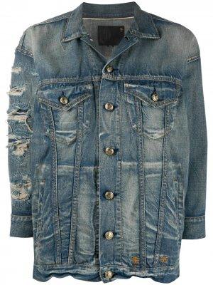 Джинсовая куртка с прорезями R13. Цвет: синий
