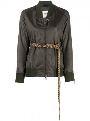 Куртка-бомбер с поясом Bazar Deluxe. Цвет: зеленый