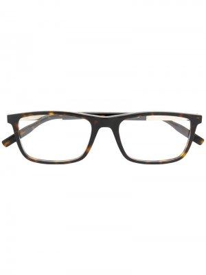 Очки в прямоугольной оправе Montblanc. Цвет: коричневый